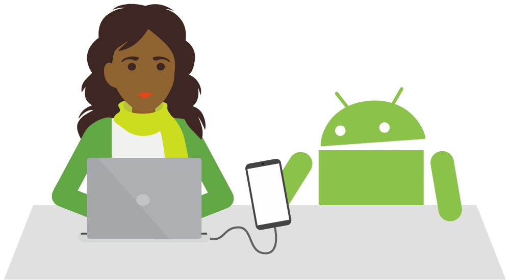 Student coding an android phone, sitting with an Android character