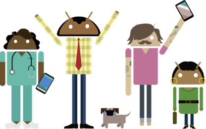 Androids holding up devices