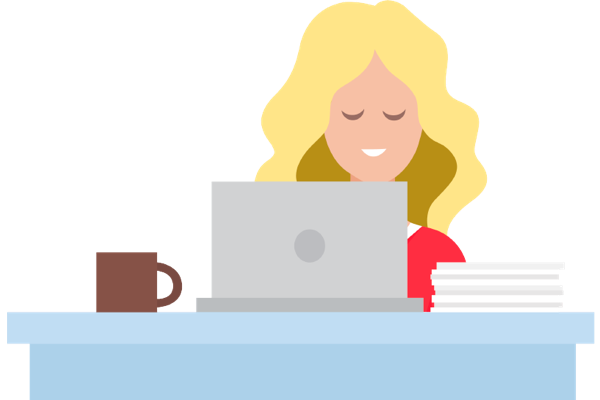Illustration of a woman looking at a laptop